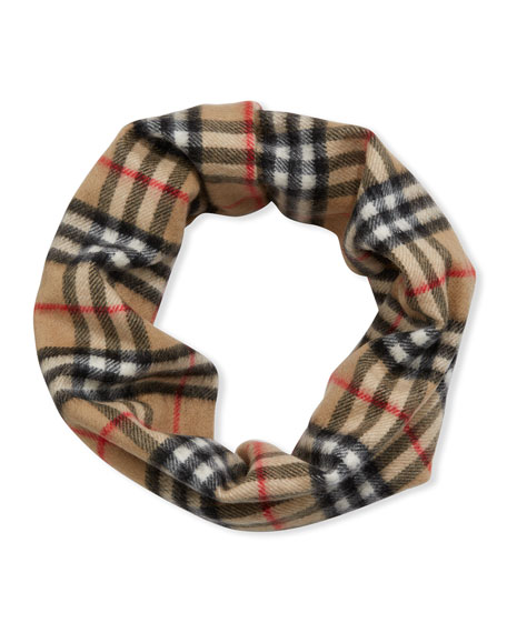 Image 2 of 2: Burberry Kid's Vintage Check Cashmere Snood Scarf