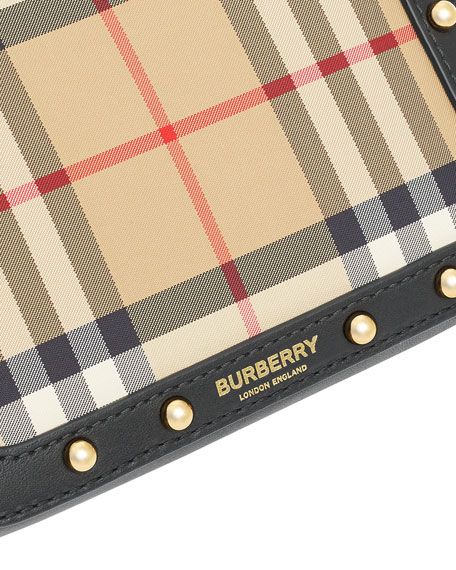 Burberry Girl's Elise Check & Leather Square Belt Bag