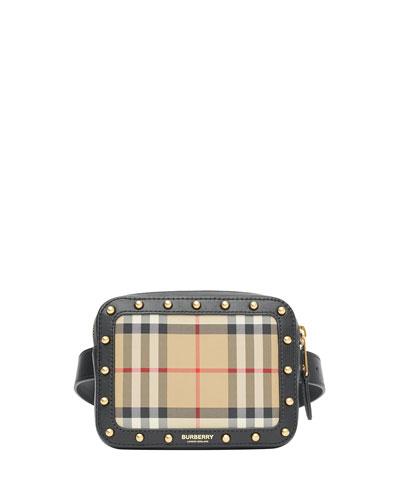 Girl's Elise Check & Leather Square Belt Bag