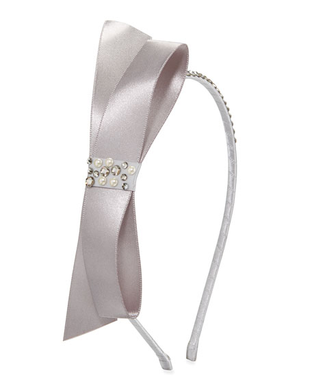 Bari Lynn Girl's Satin Bow Headband w/ Crystal Trim