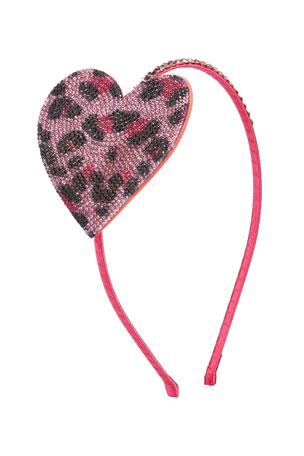 Bari Lynn Girl's Crystal Leopard Heart Headband