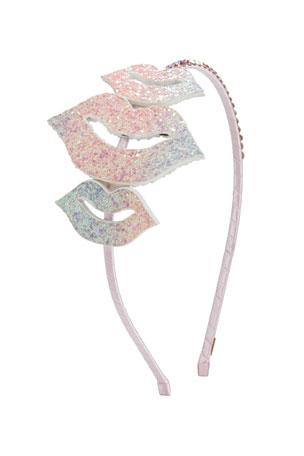 Bari Lynn Girl's Glitter Lips Headband w/ Crystal Trim