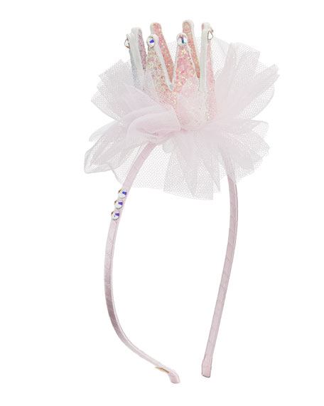 Image 2 of 2: Bari Lynn Girl's 3D Glitter Crown Headband w/ Tulle & Crystal Trim