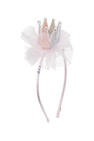 Bari Lynn Girl's 3D Glitter Crown Headband w/ Tulle & Crystal Trim
