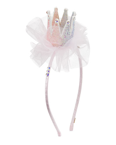 Girl's 3D Glitter Crown Headband w/ Tulle & Crystal Trim
