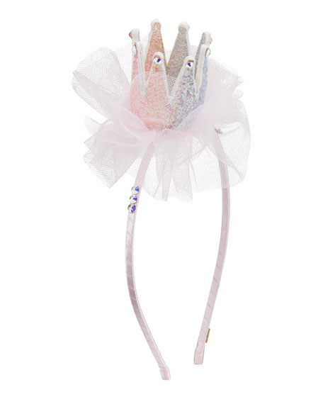 Image 1 of 2: Bari Lynn Girl's 3D Glitter Crown Headband w/ Tulle & Crystal Trim