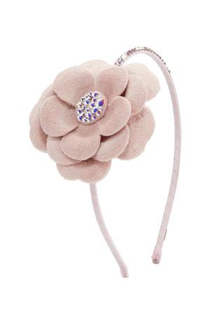Bari Lynn Girl's Crystal Flower Headband