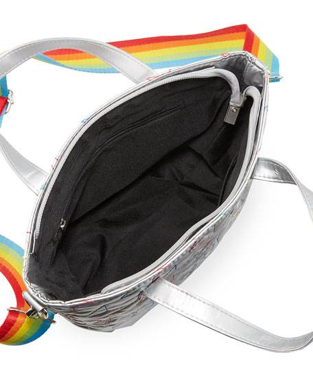 Bari Lynn Girl's Metallic Star Embroidered Bag w/ Rainbow Strap