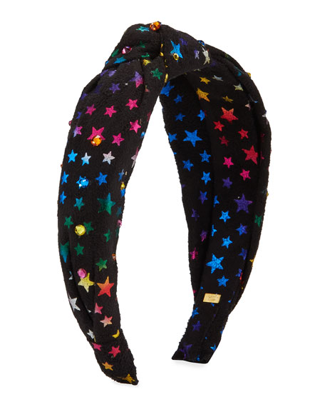 Bari Lynn Girl's Multicolored Star-Print Knit Headband w/ Crystals