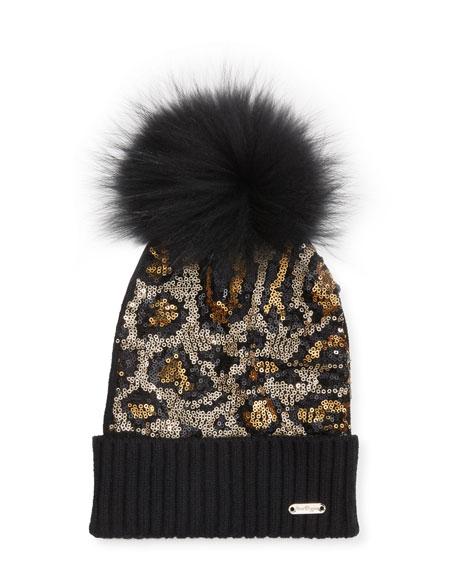Bari Lynn Animal Sequin Beanie Hat w/ Fur Pompom