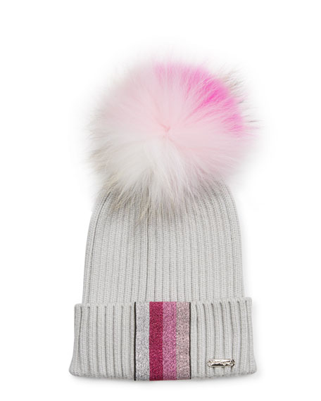 Bari Lynn Ribbed Lurex Taping Beanie Hat w/ Fur Pompom