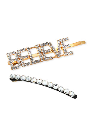 Bari Lynn Girl's Believe Word Crystal Bobby Pin w/ Matching Bobby Pin