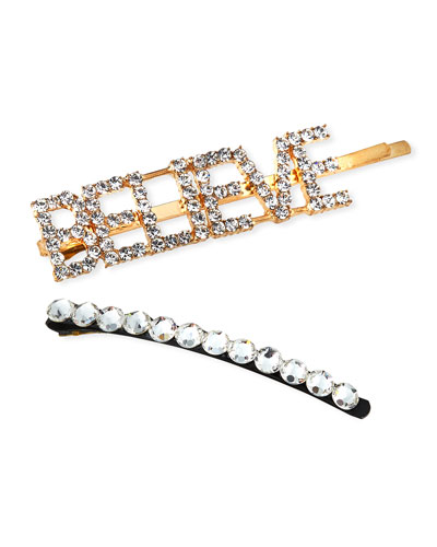 Girl's Believe Word Crystal Bobby Pin w/ Matching Bobby Pin