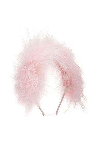 Bari Lynn Girl's Allover Fox Fur Headband