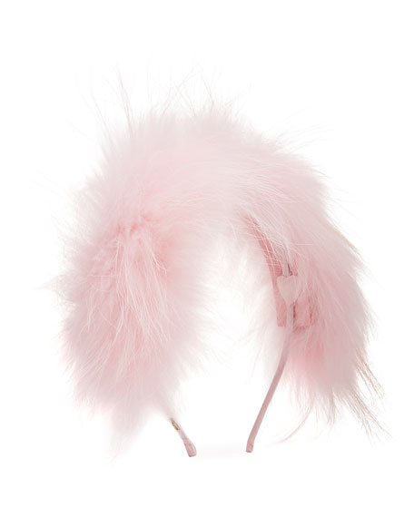 Bari Lynn Girl's Allover Fox Fur Headband