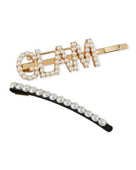 Bari Lynn Girl's Glam Word Pearlescent Bobby Pin w/ Matching Bobby Pin