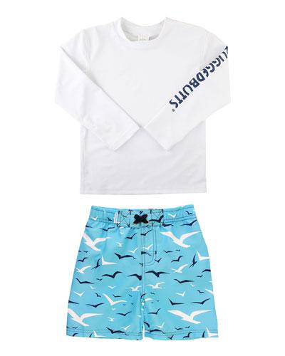Boy's Rash Guard w/ Seagull Print Swim Trunks  Size 3M-5