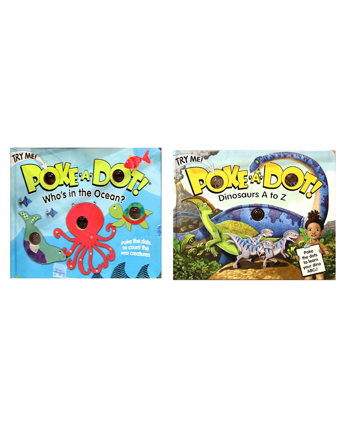 "Melissa & Doug Poke A Dot Book Bundle - ""Dinosaurs A to Z"" and ""Who's in the Ocean?"" Books"