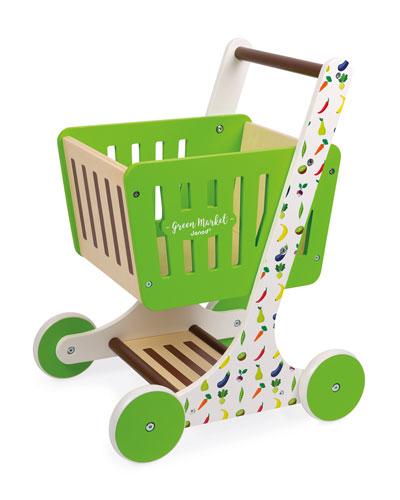 Green Market Wooden Shopping Trolley