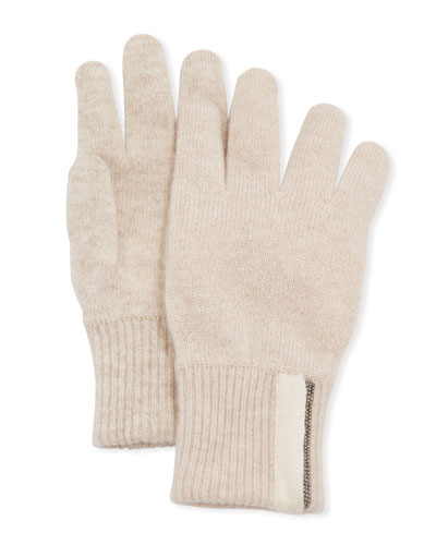Girl's Cashmere Gloves with Monili  Size 6