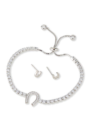 Helena Kid Girl's Horseshoe Sterling Cubic Zirconia Adjustable Bracelet w/ Matching Stud Earrings