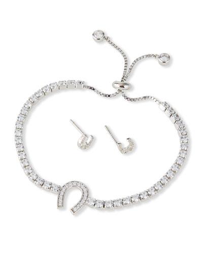 Kid Girl's Horseshoe Sterling Cubic Zirconia Adjustable Bracelet w/ Matching Stud Earrings