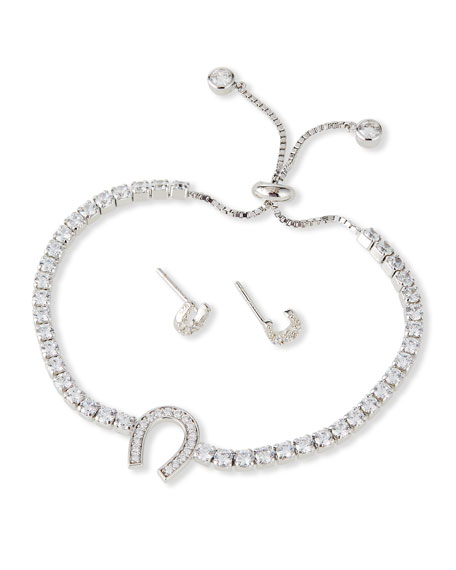 Helena Kid Girl's Horseshoe Sterling Cubic Zirconia Adjustable Bracelet w/ Matching Stud Earrings