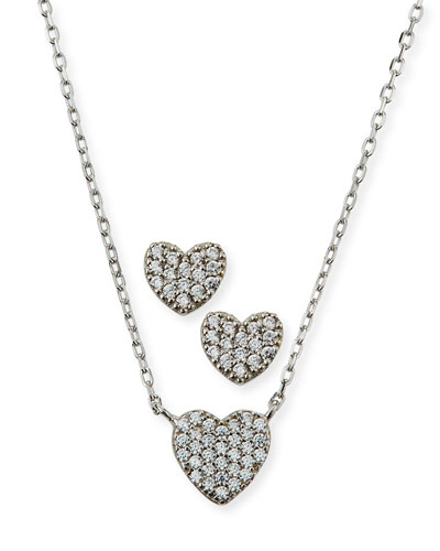 Girl's Pave Heart Necklace w/ Matching Stud Earrings Set