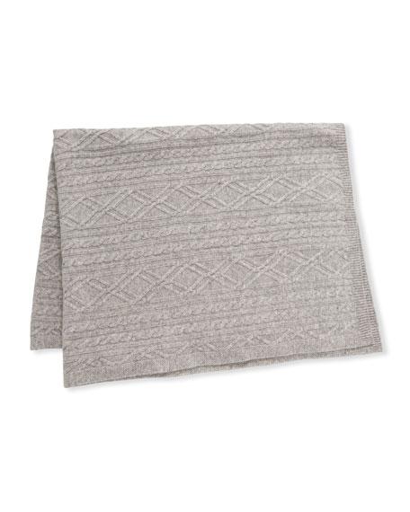 Sofia Cashmere Argyle Cable Knit Baby Blanket