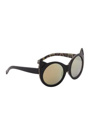 Molo Kid's Shea Cat-Eye Sunglasses w/ Animal Print Inner