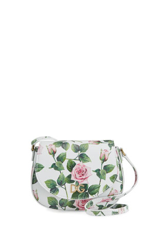 Dolce & Gabbana Tropical Rose Leather Crossbody Bag