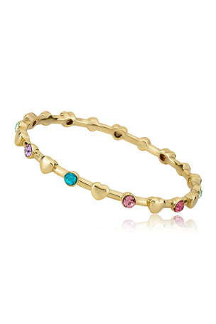 LMTS Girls' Multi Color Stones And Heart Bangle (Hypoallergenic)