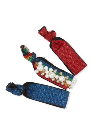 Bari Lynn Rainbow Pearly Scrunchies, Set of 3, Multi