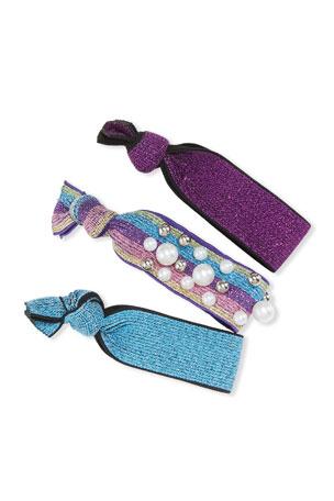 Bari Lynn Rainbow Pearly Scrunchies, Set of 3