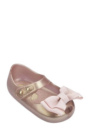 Mini Melissa Shimmer Bow Mary Jane Flats, Kids