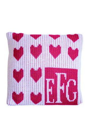 Butterscotch Blankees Lots of Hearts Monogram Pillow, Personalized