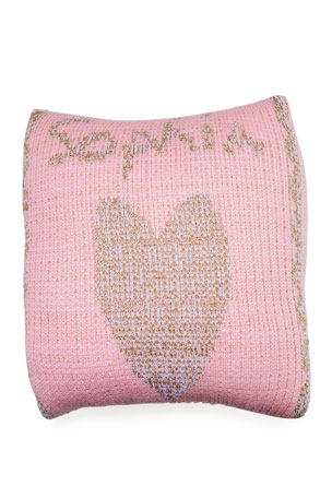 Butterscotch Blankees Single Heart Metallic Knit Pillow, Personalized
