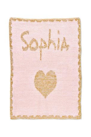Butterscotch Blankees Single Heart Metallic Knit Stroller Blanket, Personalized