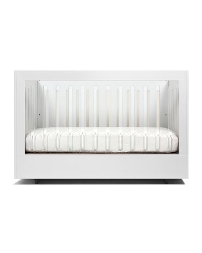Roh Crib with 1 Acrylic Side  White