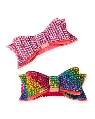Girl's Crystal Bow Hair Clip Set
