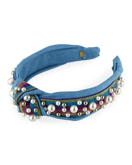 Bari Lynn Girl's Faux Pearl Knotted Headband