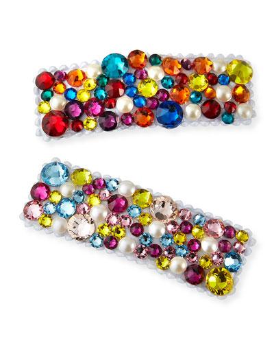 Girl's Multicolor Swarovski Crystal Hair Clip Set