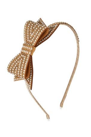 Bari Lynn Girl's Pearl Beaded Headband w/ Crystal Trim