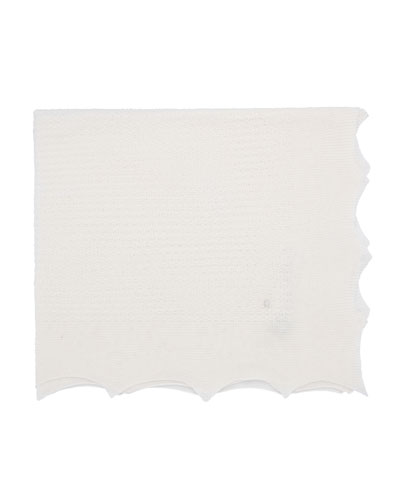Knit Baby Blanket w/ Pointed Scallop Edge
