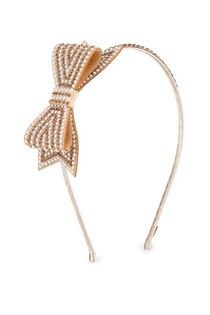 Bari Lynn Girl's Pearl Beaded Headband w/ Side Bow