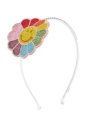 Bari Lynn Girl's Smile Flower Headband w/ Crystal Trim