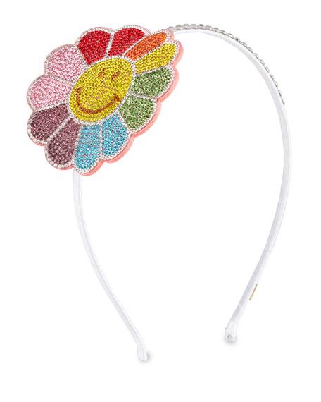 Bari Lynn Girl's Smile Flower Headband w/ Crystal Trim