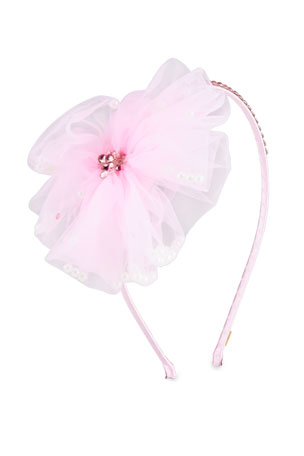 Bari Lynn Girl's Flower w/ Pearls Headband