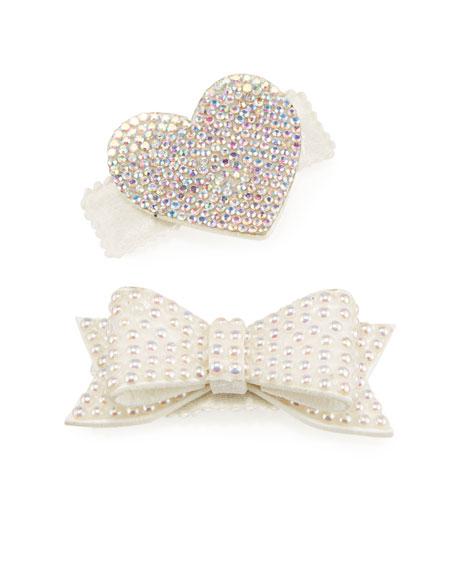Bari Lynn Girl's Crystal Bow & Heart Hair Clip Set