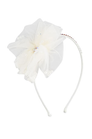 Bari Lynn Girl's Flower w/ Pearl Headband
